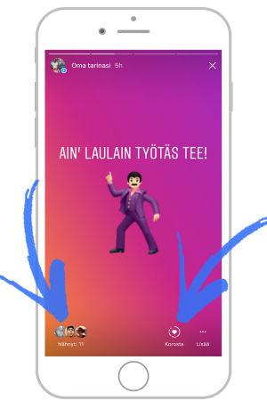 Instagram näyttökuva, jossa tanssiva mies -emoji sekä teksti Ain laulain työtäs tee