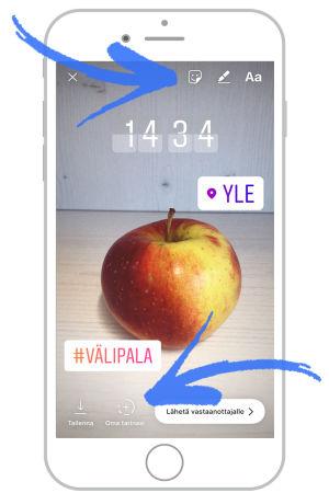 Kännykän ruutu jossa omena ja #välipala, sijainti yle ja kellonaika
