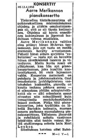 Osa konserttiarvostelusta. Helsingin Sanomat 13. huhtikuuta 1956.