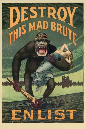 Propagandajulisteessa saksalaiskypäräinen King Kong pitelee kädessään veristä nuijaa ja roikottaaa vapauden neitoa