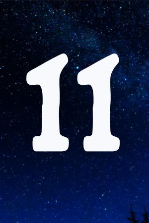 Kuvituskuva. Tähtitaivas ja joulukalenterin luukku nro 11.