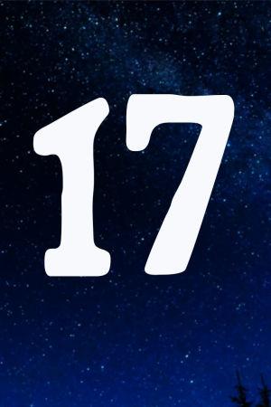 Kuvituskuva. Tähtitaivas ja joulukalenterin luukku nro 17.