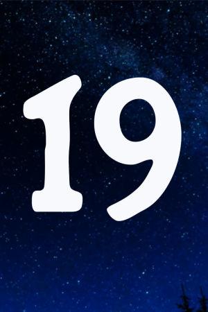 Kuvituskuva. Tähtitaivas ja joulukalenterin luukku nro 19.