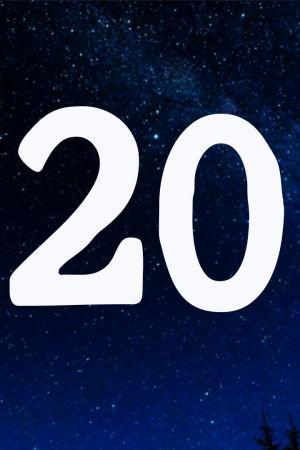 Kuvituskuva. Tähtitaivas ja joulukalenterin luukku nro 20.