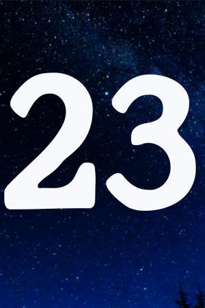 Kuvituskuva. Tähtitaivas ja joulukalenterin luukku nro 23.