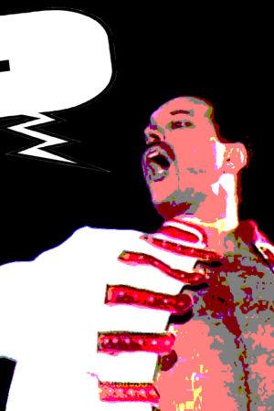Freddie Mercury lavalla. Puhekupla lisätty ja kuva manipuloitu Elävän arkiston toimituksessa.