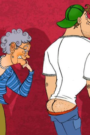 Kuvituskuva KulttuuriCocktailin myötähäpeäartikkeliin. Kuvassa sivustakatsoja tuntee voimakasta myötähäpeää miehen puolesta, joka vahingossa pyllistää.