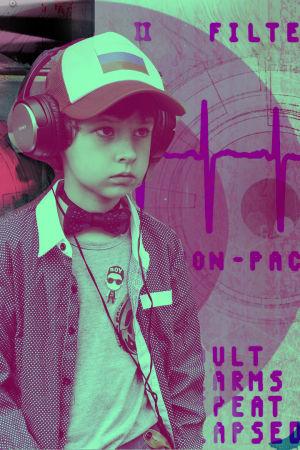 Poika kuuntelee kuulokkeilla. Taustalla tanssivat hahmot.