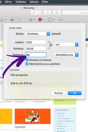 Nuoli osoittaa Esikatseluohjelman Säädä kokoa -valikon pikselien määrä ruutua.