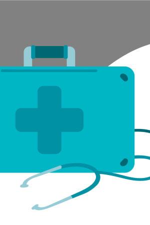 Kuvituskuva lääkärinsalkusta, jonka ympärillä näkyy stetoskooppi sekä passi ja matkalippu
