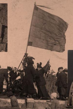 Naiset pystyttävät punalippua Tähtitorninmäelle 1917 tai 1918.