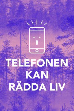 En bild på en skog och en animerad telefon.