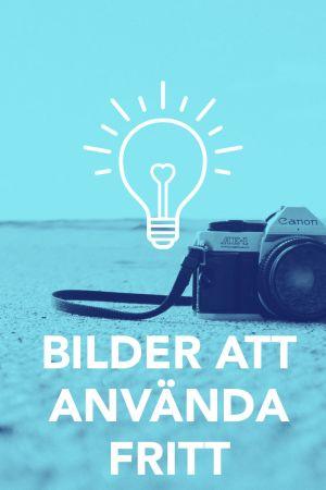 Bild på en kamera med texten; Bilder att använda fritt.