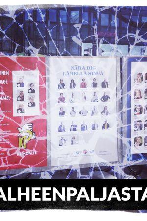 Valokuva vaalijulisteista, päällä rikkoutuneen lasin efekti.