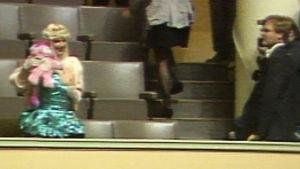 Italialainen kansanedustaja Ilona Staller (Cicciolina) vilauttaa rintaansa eduskunnan lehterillä.