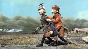 Mannerheim ja Perhonen Katariina Lillqvistin animaatioelokuvassa Uralin perhonen. (2008)