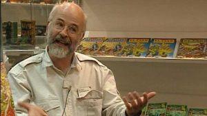 Fantasiakirjailija Terry Pratchett haastattelussa Göteborgin kirjamessuilla 1994.