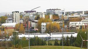 Vy över Reykjavik i Island