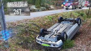 En bil som ligger upp och ner i ett dike.