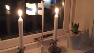 Michaela Blomqvist firade med te och ljus i fönstren.