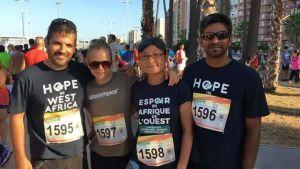 Förste styrman Fernando, andre styrman Karin Björk, matros Shuan och tredje styrman Amrit under ett välgörenhets lopp i Algeciras som Björk deltog i under fritiden.