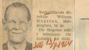 Tidningsannons för Wilhelm Högstens 50-årsdag, 13.7 1964