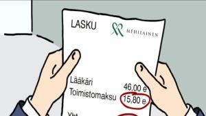 Lääkärikeskus perii melkein 16€ toimistomaksun