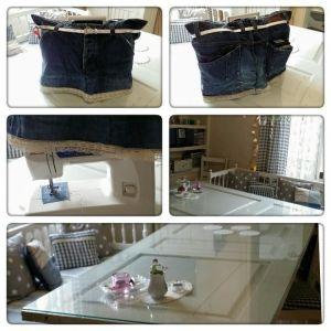 Fodral till symaskin av gamla jeans.