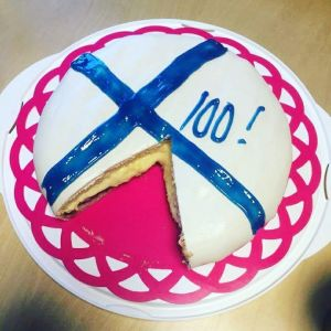 Johanna Nordlund firade med den här läckra tårtan.