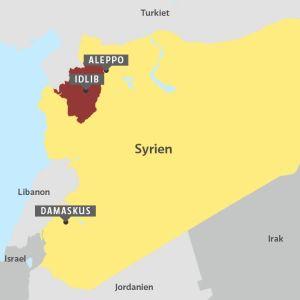 Karta över Syrien och provinsen Idlib