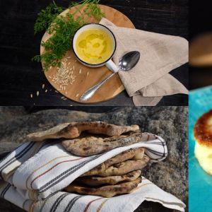 Kolme kuvaa ruoka-annoksista. Perunaohukaiset, grillattu leipä sekä juureskeitto.