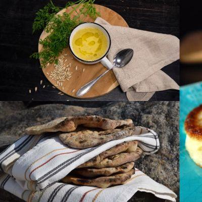Tre olika bilder på mat. Potatisplättar, tunnbröd och rotsakssoppa