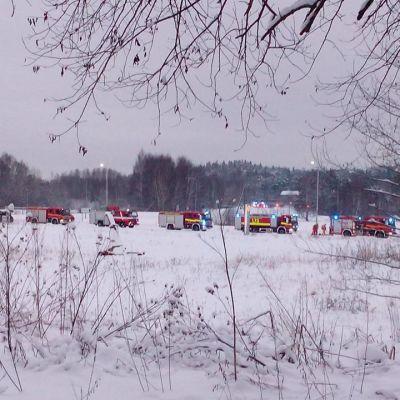 Flytande kväve har kommit ut ur ett söndrigt rör i Åbo.