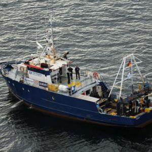 Tyskt fartyg som dyker vid M/S Estonia.