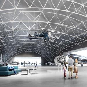 En flygplatshangar och -terminal.