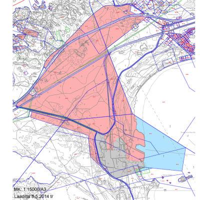 En karta över de mark- och vattenområden som Hangö stad vill köpa av stålverkets konkursbo i Koverhar i Lappvik.