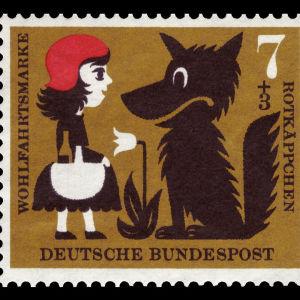 Rödluvan och vargen på ett tyskt frimärke.