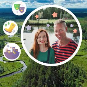Kollaasikuvassa taustalla kuusimetsää, päällä valokuva Egenland-ohjelman juontajista Hannamari Hoikkalasta ja Nicke Aldénista, piirrettyjä kuvia, mm. kumisaapas, tähtiä