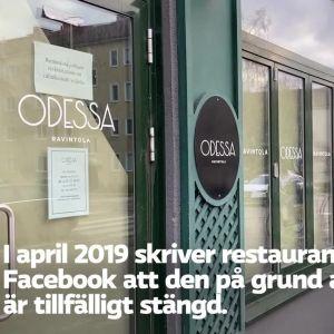 en bild på fasaden av restaurang Odessa i Munksnäs i Helsingfors.