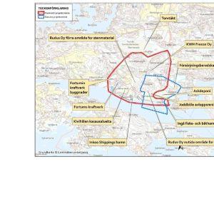 Karta över projektområdet och övriga funktioner i dess omgivning.