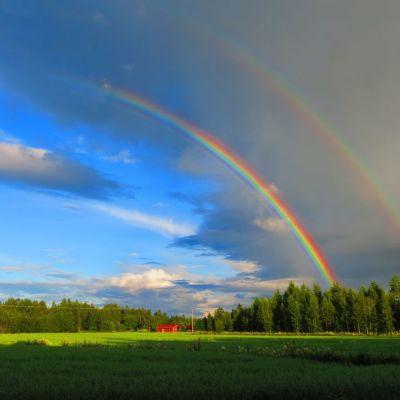 Sateen ja auringon yhteys. Kuva Kauhajoelta.