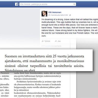 Immosen FB sivu ja Perussuomalaisten maahantulo politiikka.