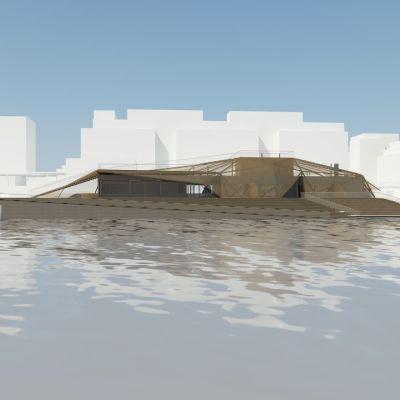 Hernesaarenrantaan nouseva Sauna Finlandia tulee käsittämään neljä saunaa. Kokonaispinta-ala on noin 600 neliömetriä.