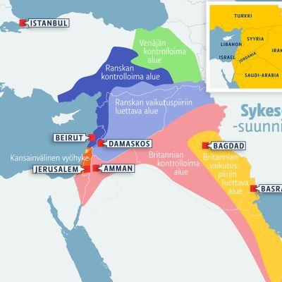 Kartta Sykes-Picot-suunnitelmasta.