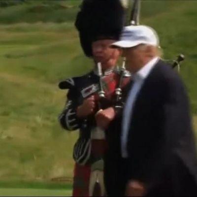 Uutisvideot: Häirikkö tarjoili Trumpille hakaristipalloja Skotlannissa