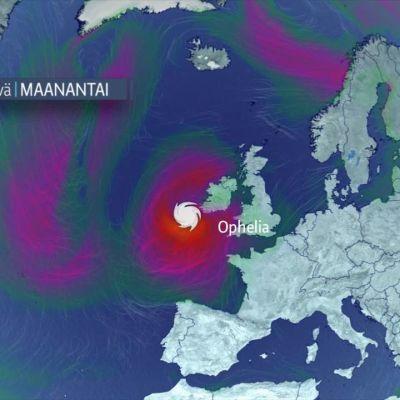 Ophelia-hurrikaani iskee Irlantiin maanantaiaamuna