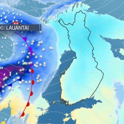 Lauantaina Suomen yli liikkuu lumipyry