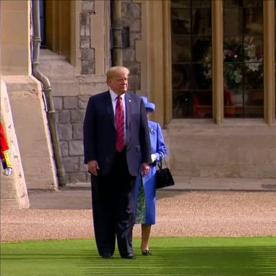 Donald Trump tapasi kuningatar Elisabetin