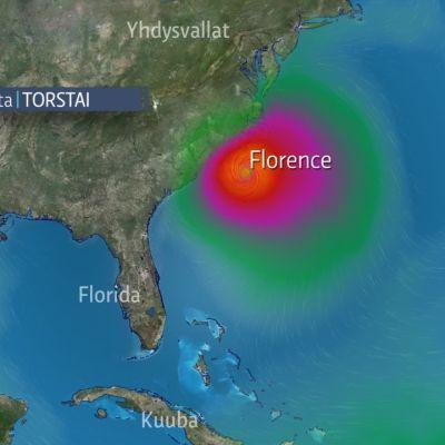 Hurrikaani Florence lähestyy Yhdysvaltoja