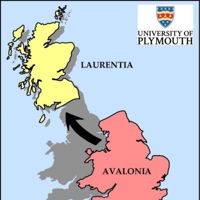 Piirroskartta Laurentian, Avalonian ja Armorican sijainnista nykyisessä Britanniassa.